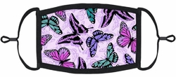 YOUTH SIZE - Purple Butterfly Fabric Face Mask