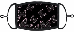 YOUTH SIZE - Pink Butterflies Fabric Face Mask
