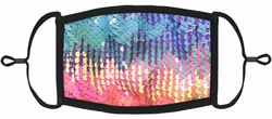 Rainbow/Silver Flip Sequin Fabric Face Mask