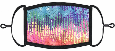 YOUTH SIZE - Rainbow Sequin Fabric Face Mask