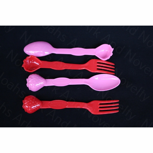 Plastic Strawberry Fork and Spoon Set