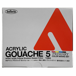 Holbein Acryla Gouache 20ml, Primary Mixing Colors Set of 5