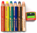 STABILO Woody 3 in 1, Set of 6 with Sharpener