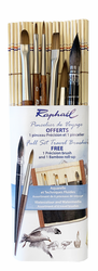 Raphael Travel Watercolor Brush Set of 6 with Bamboo Roll-up (Out of Stock)
