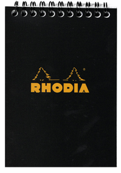 Rhodia Wirebound Notebook, Grid 4x6 Black