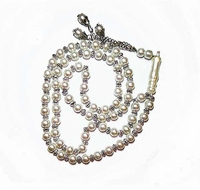 Tisbah Beads - Prayer Beads - 66 Beads - Pearl Luster w/Silver Tone spacers
