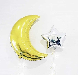 Event Decor: Giant Crescent Star Balloons Party Pack (Gold or Silver or Combo)