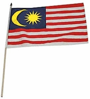 Flag of Malaysia: 12 x 18 in. Stick Flag