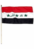 Flag of Iraq: 12 x 18 in. Stick Flag w/ Takbir