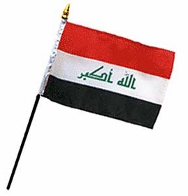 Flag of Iraq: 4 x 6 in. Stick Flag