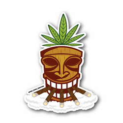Tiki Weed Mask With Weed Leaf Vinyl Sticker