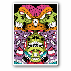Abstract Scary Green Skull Vinyl Sticker