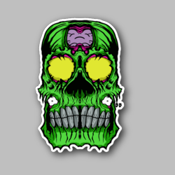 Scary Green Skull Vinyl Sticker