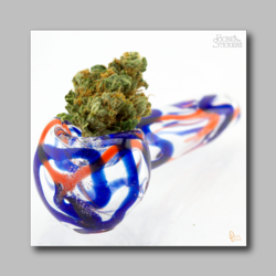 Smoking Pipe With Weed - Marijuana Sticker