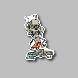 Zombie Smoking Joint And Surfing Vinyl Sticker