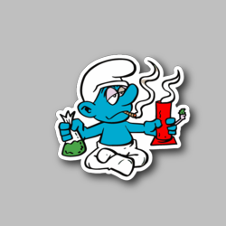 Cartoon Blue Creature Smoking Pot With Bong And Weed Vinyl Sticker