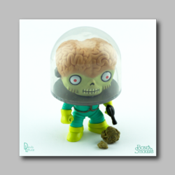 Alien Staring At Hash Chunk - Marijuana Sticker 001 - devilslettuceph