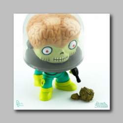 Alien Staring At Hash Chunk - Marijuana Sticker 002 - devilslettuceph