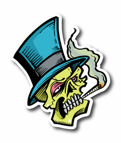 Smoker Skull With Hat and Joint Vinyl Sticker