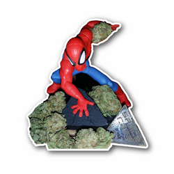 Baked Stottie Weed Leafs Bunch With Spidy Man Vinyl Sticker