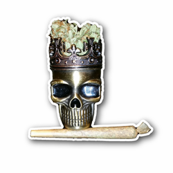 Skull With Weed Crown On A Marijuana Joint Vinyl Sticker