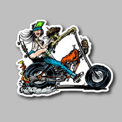 Skeleton Chopper Vinyl Sticker