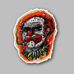 Clown Smoking Joint Vinyl Sticker 01