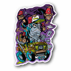 Ape Driving Car With Monkey Vinyl Sticker