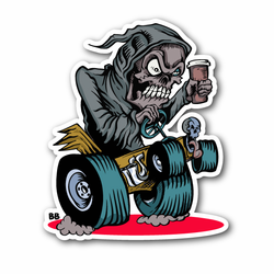 Coffee Reaper Driving A Car Vinyl Sticker