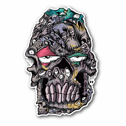 Melting Face Skull Vinyl Sticker