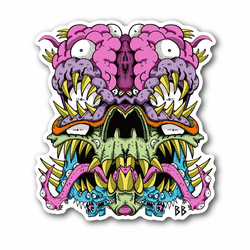 Tongue Skull Vinyl Sticker