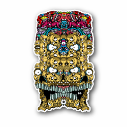Trippy Skull With Eyes and Teeth Vinyl Sticker