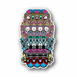 Trippy Colorfull Skull With Eyes and Teeth Vinyl Sticker