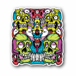 Abstract Colorfull Skulls with Eyes And Teeth Vinyl Sticker