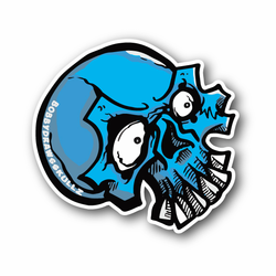 Blue Skull With Eyes and Teeth Vinyl Sticker