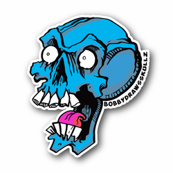 Screaming Skull With Teeth And Tongue Vinyl Sticker