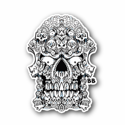 Scary Skull With Eyes Vinyl Sticker