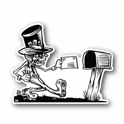 Skeleton With Hat Sending Post Vinyl Sticker