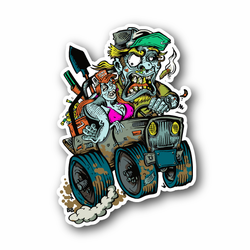 Zombie Redneck Driving Car Vinyl Sticker