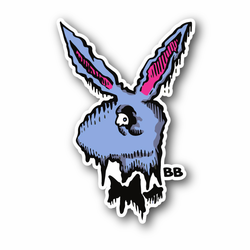 Spooky Bunny With Bow Vinyl Sticker
