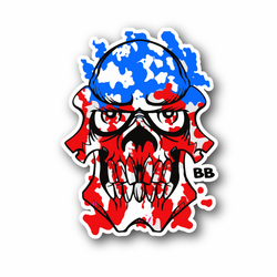 USA Skull American Flag Colors Vinyl Sticker