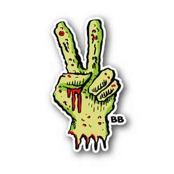 Zombie Peace Hand Sign Vinyl Sticker