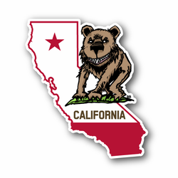 California State Wicked Bear With Grin Vinyl Sticker