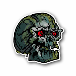 Skull With Red Eyes Vinyl Sticker