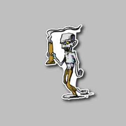 Zombie Walking With A Bong Vinyl Sticker