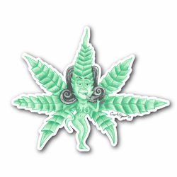 Lady Green Weed Leaf Vinyl Sticker
