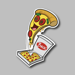 Peppy Happy Pizza Vinyl Sticker