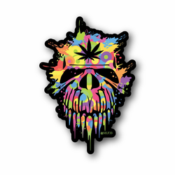 Candy Skull With Weed Leaf Vinyl Sticker
