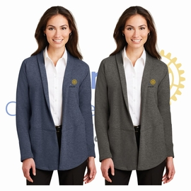 Yelm Rotary Club Port Authority Ladies Interlock Cardigan. L807.