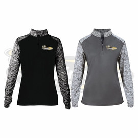 Yelm MS Staff Badger Ladies' Blend Colorblock Quarter-Zip Long-Sleeve Pullover. 4198.
